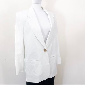 Vintage White Long One Button Blazer Jacket